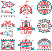 Labels in retro style. Logos for circus entertainment. Carnival and circus entertainment, vector illustration