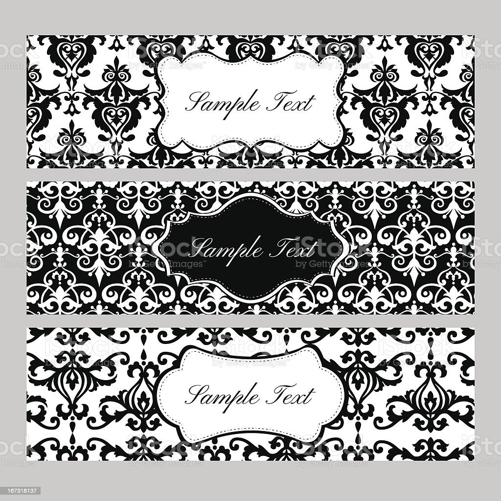 Labels on Damask Background royalty-free stock vector art