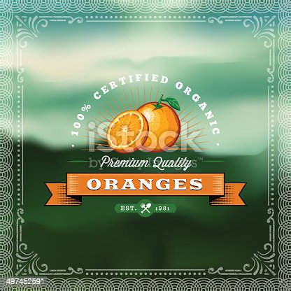 A vintage styled label featuring oranges. EPS 10 file, layered & grouped, with meshes and transparencies (shadows & overall effects only).