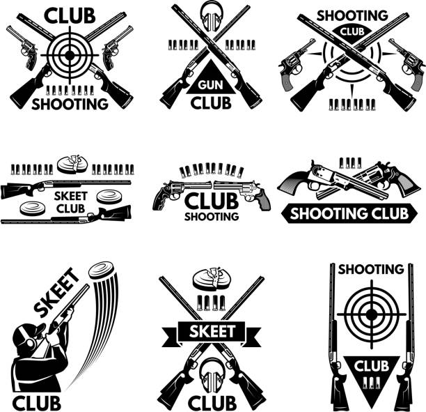 Labels set for shooting club. Illustrations of weapons, bullets, clay and guns Labels set for shooting club. Illustrations of weapons, bullets, clay and guns. Emblem shooting sport club, vector badge skeet gun stock illustrations