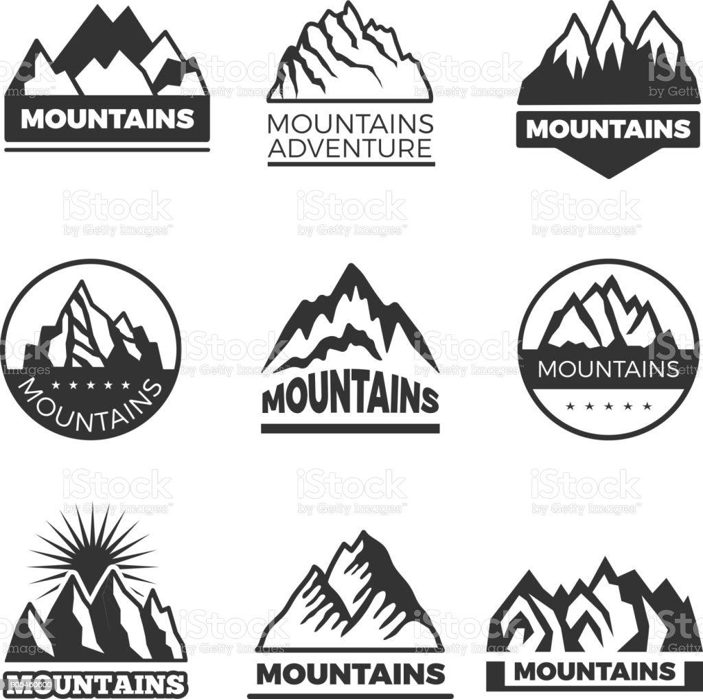 山のイラストが異なるセットのラベルですロゴのデザイン用のテンプレート