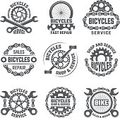 Labels template design with gears, chains and other parts of bicycle. Vector bicycle gear emblem illustration