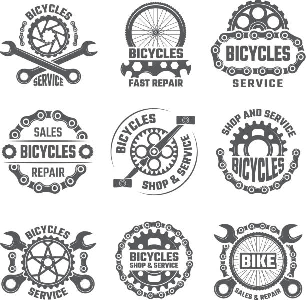 Labels template design with gears, chains and other parts of bicycle Labels template design with gears, chains and other parts of bicycle. Vector bicycle gear emblem illustration bicycle chain stock illustrations