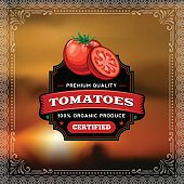 A vintage styled label featuring tomatoes. EPS 10 file, layered & grouped, with meshes and transparencies (shadows & overall effects only).