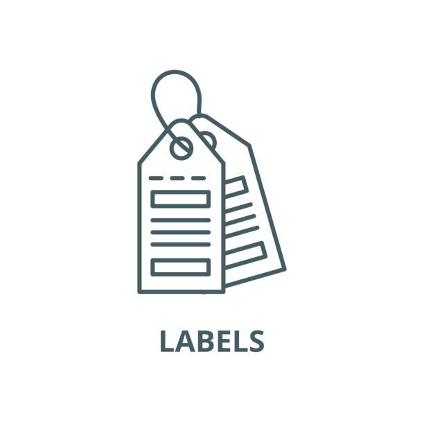 etiketler vektör çizgi simgesi, doğrusal kavram, anahat işareti, sembol - sale stock illustrations
