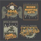MMA Labels -  Vector Mixed Martial Arts Design.