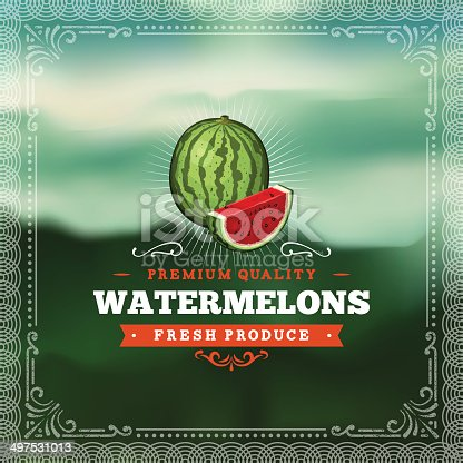 A vintage styled label featuring watermelons. EPS 10 file, layered & grouped, with meshes and transparencies (shadows & overall effects only).