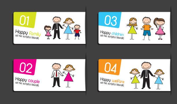 illustrations, cliparts, dessins animés et icônes de étiquettes pour les familles - enfants de bande dessinée