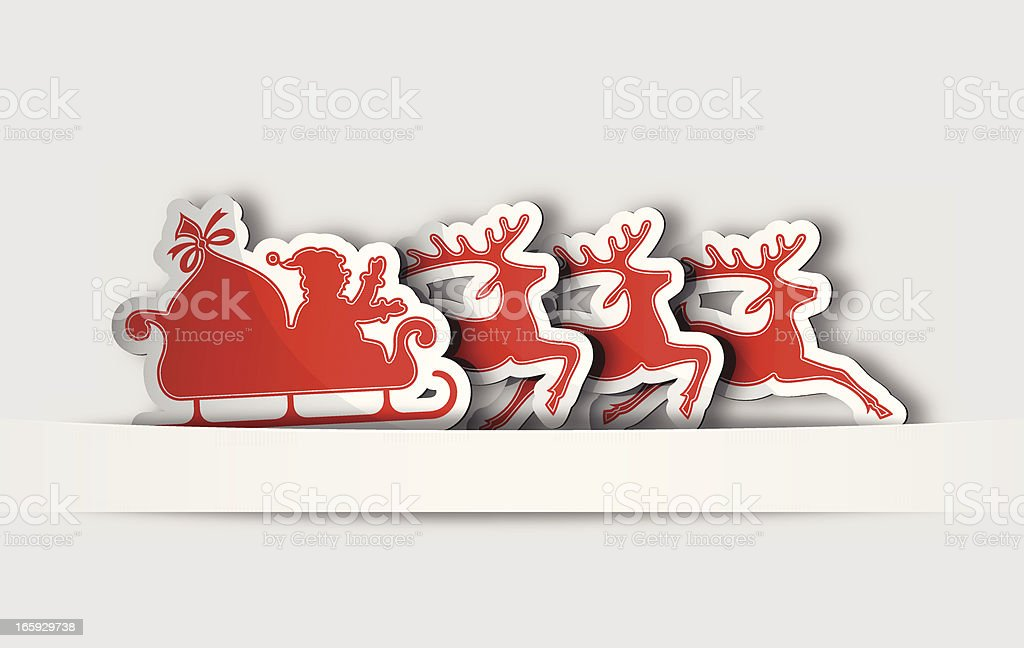 Labels with Santa Claus Sleigh royalty-free stock vector art