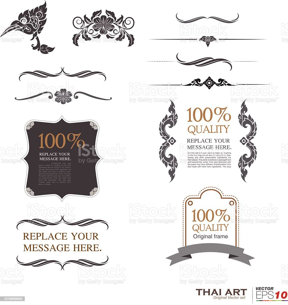Labelsframes And Banners Illustration Thai Art Stock Vector Art ...