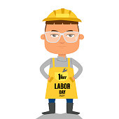 Labor day 1st May word and worker man cartoon vector