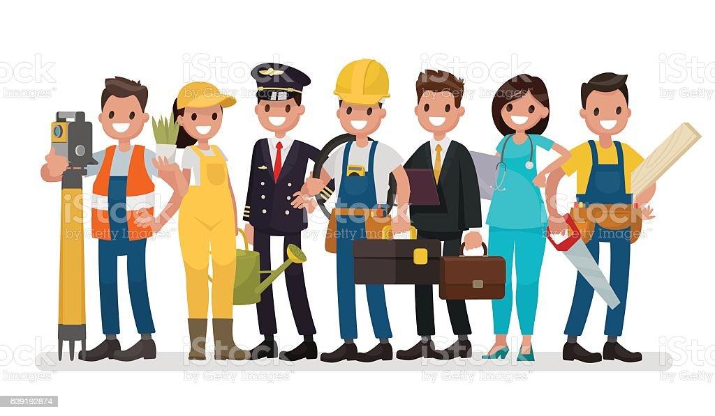 Tag der Arbeit. Eine Gruppe von Menschen unterschiedlicher Berufe - Lizenzfrei Berufliche Beschäftigung Vektorgrafik