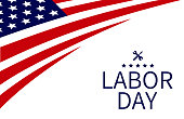 USA Labor Day background, with texts superimposed on American style backdrop wit USA flag elements.