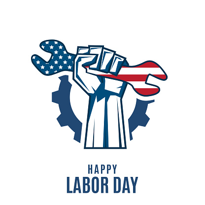 Labor Day background with fist holding wrench. Vector