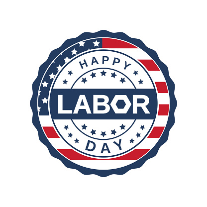 Labor Day badge label. Vector