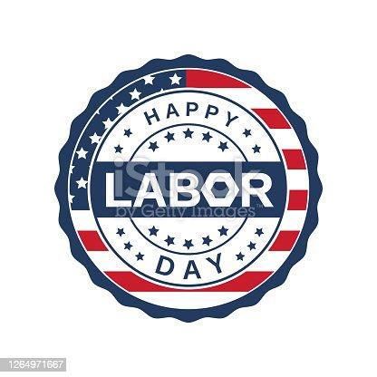 istock Labor Day badge label. Vector 1264971667