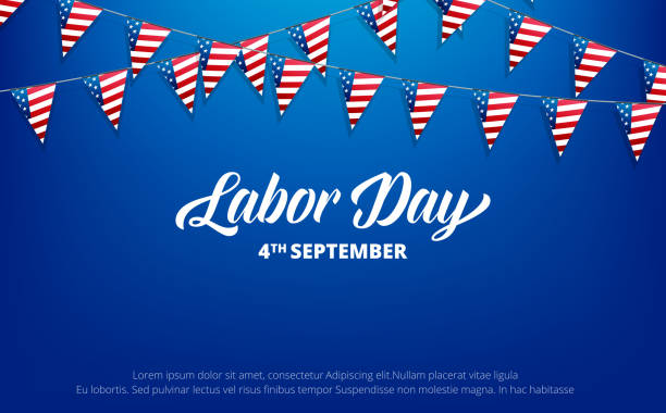 labor day. banner for usa labor day. background with trendy typography and usa flag buntings. - labor day stock illustrations, clip art, cartoons, & icons