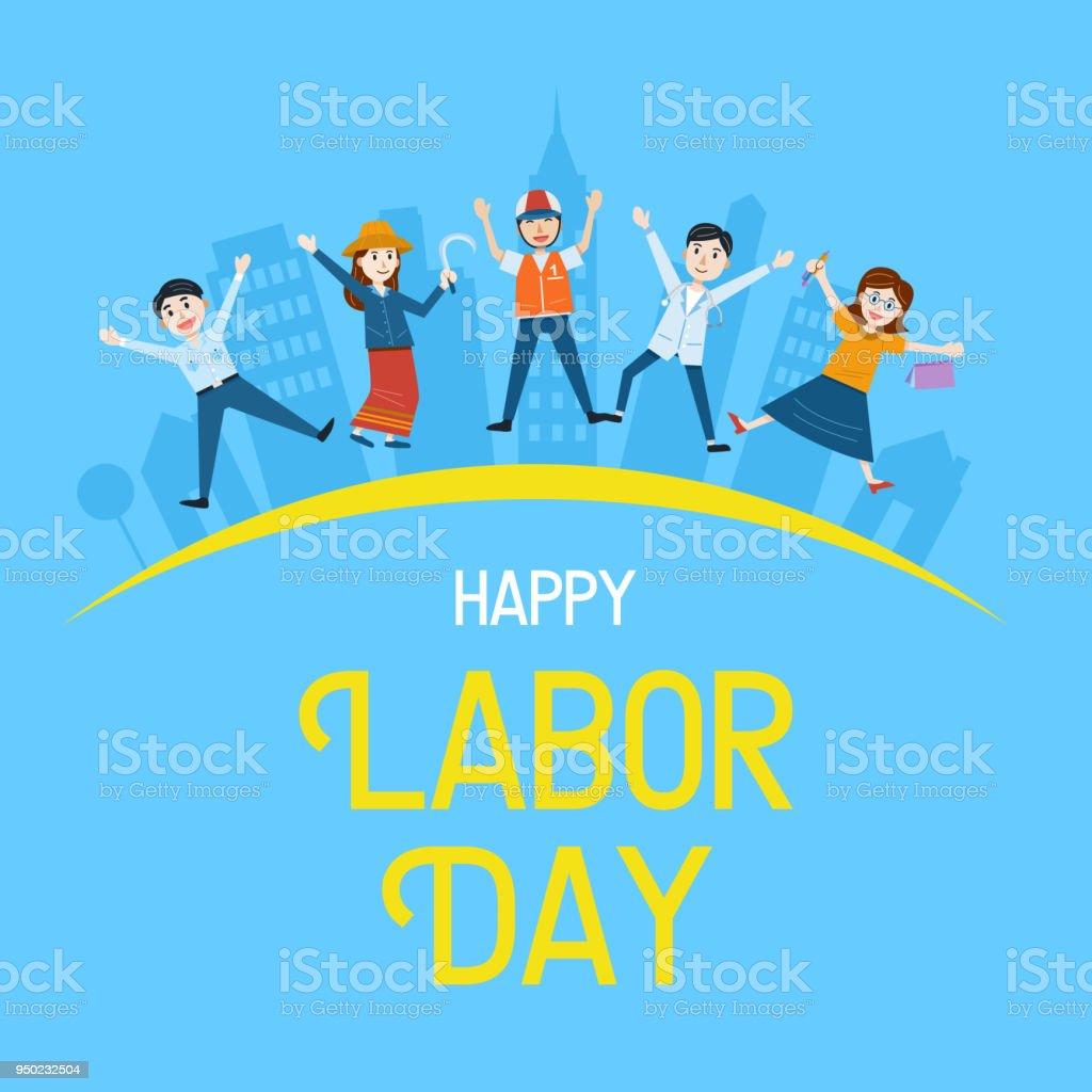 Bandera día del trabajo, personas con diferente ocupación, ilustración vectorial - ilustración de arte vectorial