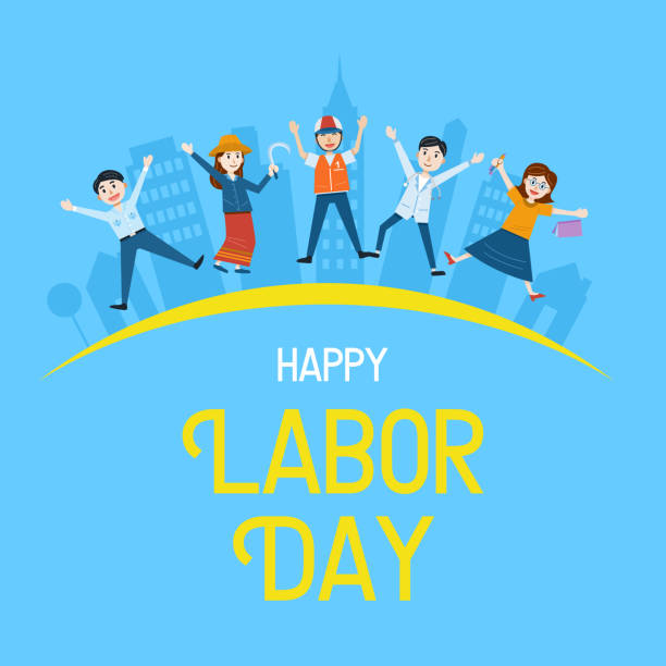 labor day banner, people with different occupation, vector illustration - may day stock illustrations, clip art, cartoons, & icons