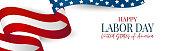 istock Labor Day banner. USA national federal holiday header design. American flag waving ribbon background. Realistic vector illustration. 1257197815