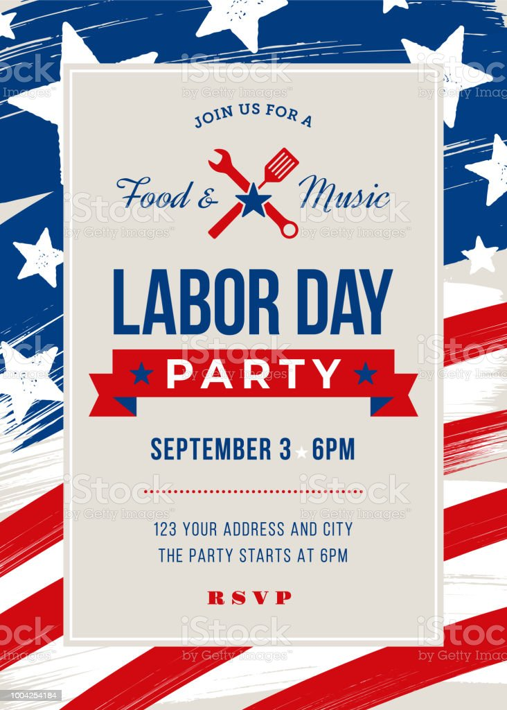 labor day bbq party invitation stock vector art more images of