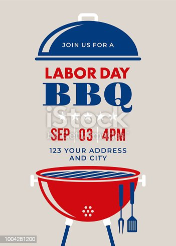 Labor Day BBQ Party Invitation - Illustration