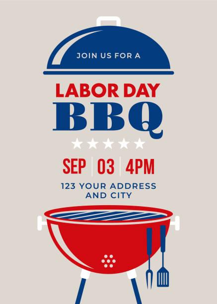 labor day bbq party einladung - tag der arbeit stock-grafiken, -clipart, -cartoons und -symbole