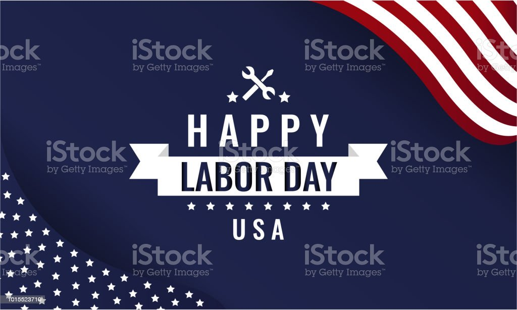 Labor Day blue vector art illustration