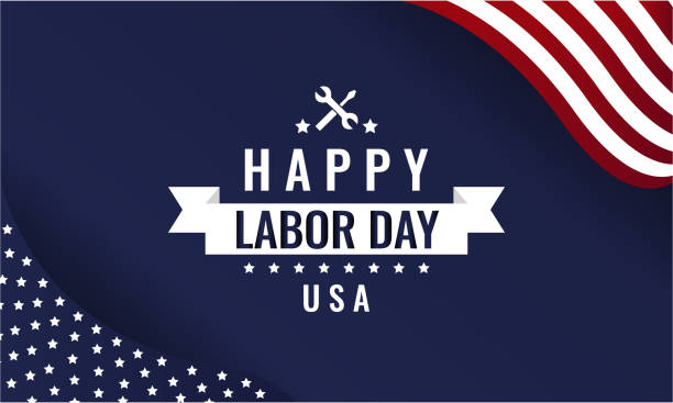 Labor Day blue Happy Labor Day greeting card or background. vector illustration. independence day holiday stock illustrations