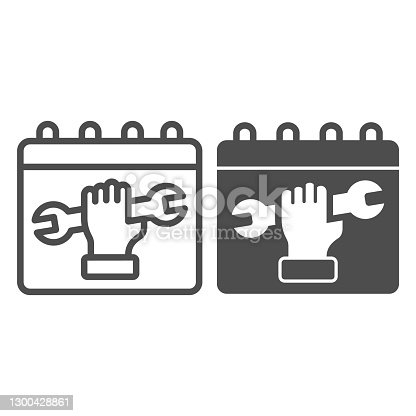 istock Labor day calendar line and solid icon, labour day concept, International Workers Day sign on white background, calendar with wrench in hand icon in outline style for mobile and web. Vector graphics. 1300428861