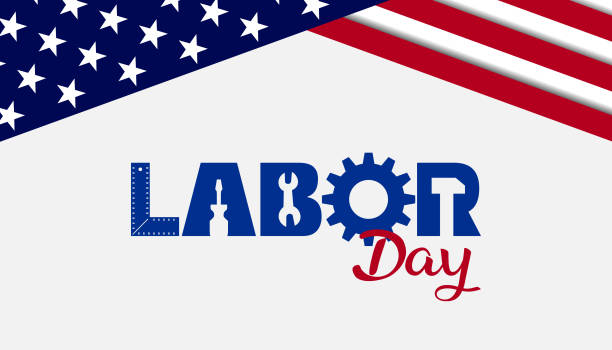 Labor Day card banner background USA Labor Day celebrative texts and American flag elements. Vector illustration. labor day stock illustrations