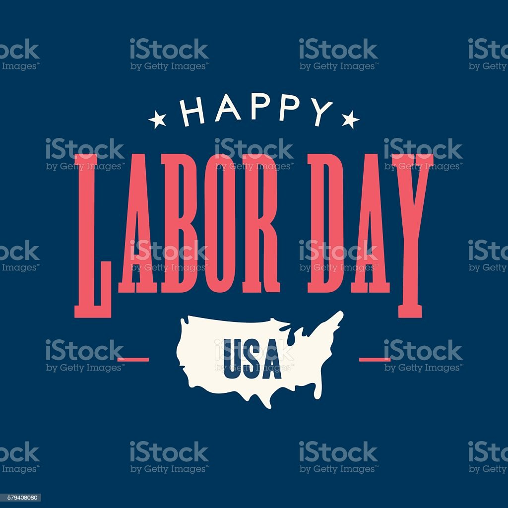 Labor day card. United States of America map. vector art illustration