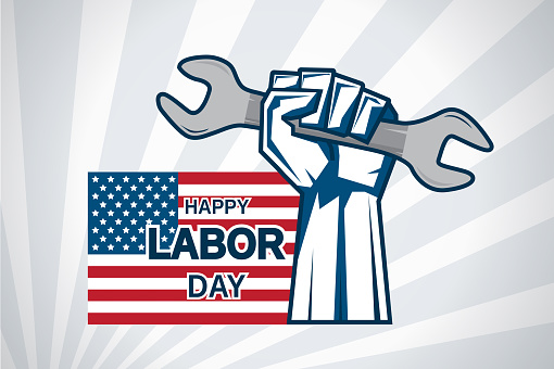 Labor Day card with hand holding wrench and USA flag. Vector