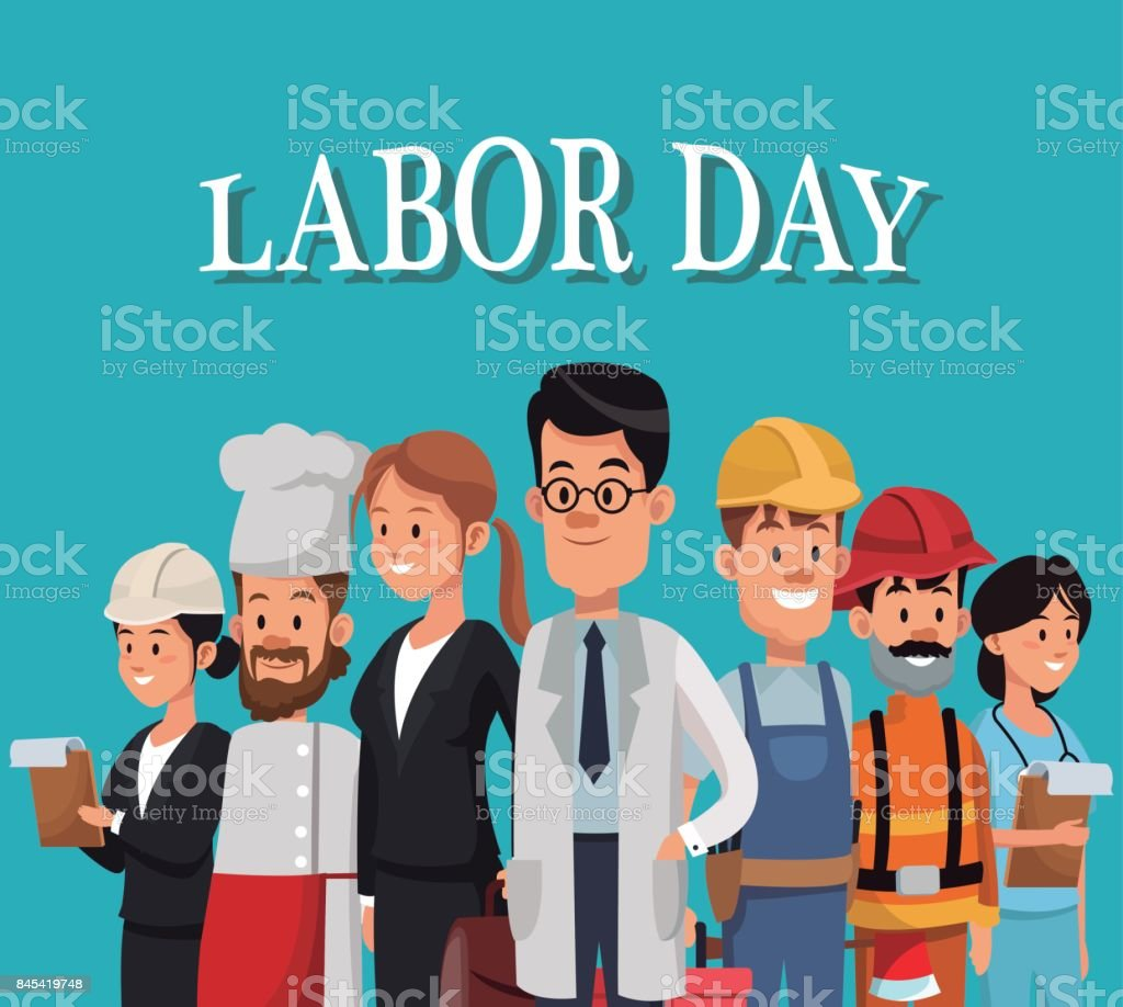 labor day card with people occupation difference vector art illustration