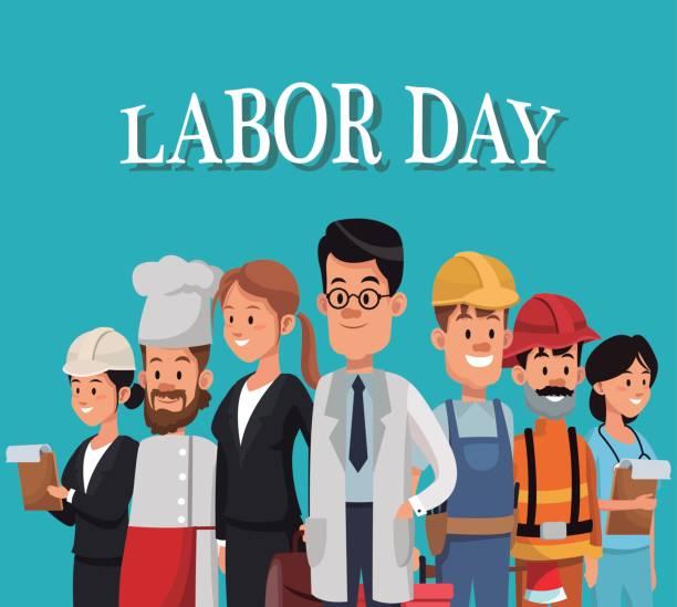ilustraciones, imágenes clip art, dibujos animados e iconos de stock de tarjeta de día del trabajo con la diferencia de ocupación de personas - día del trabajo