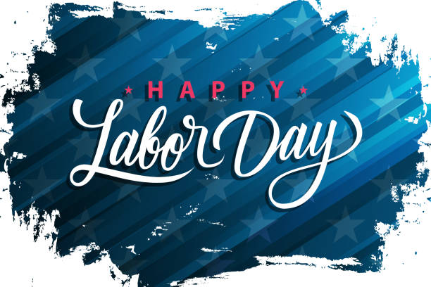 USA Labor Day celebrate banner with handwritten holiday greetings Happy Labor Day on brush stroke background. United States national holiday. vector art illustration