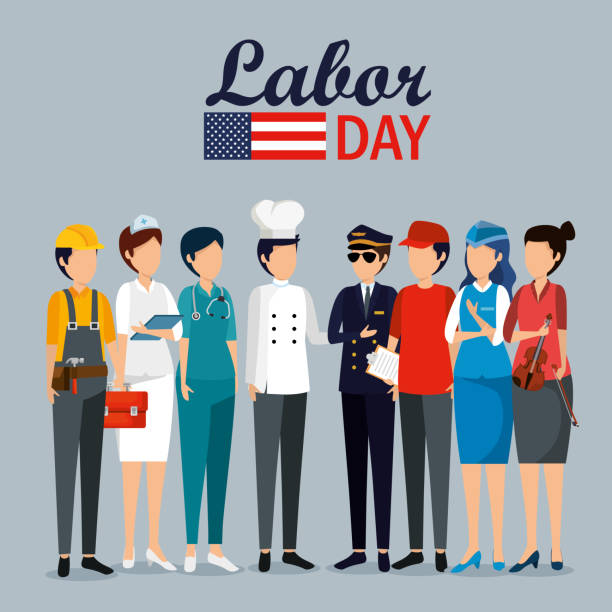 labor day celebration with professional workers vector art illustration