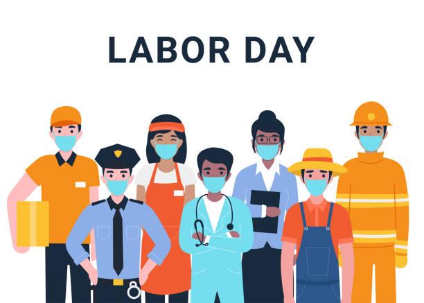 ilustrações, clipart, desenhos animados e ícones de conceito do dia do trabalho, definir as pessoas realmente importantes profissões coronavírus - work