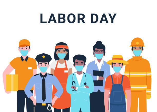labor day concept, set people actual important professions coronavirus - essential workers stock illustrations