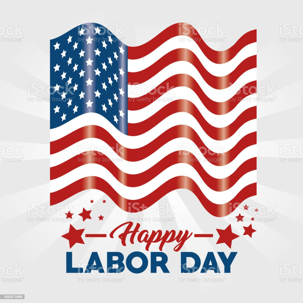 Flag Of Labor Day In Usa Theme Vector Illustration Stock Images