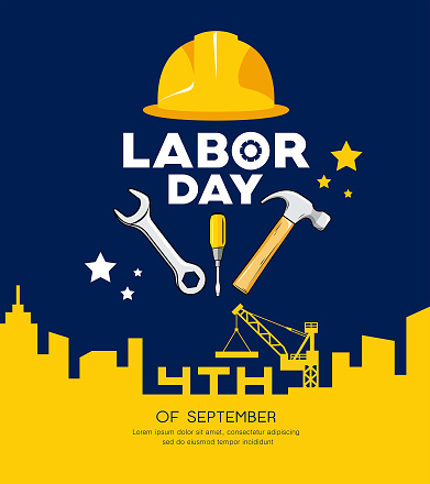 Labor day Engineer cap with wrench, hammer vector and building construction