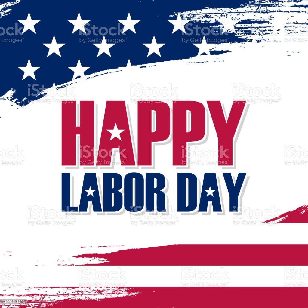 Usa Labor Day Greeting Card With Brush Stroke Background In United