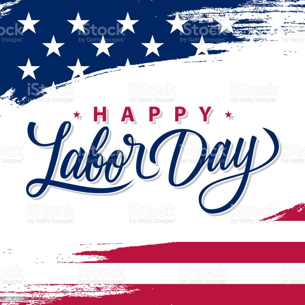 USA Labor Day greeting card with brush stroke background in United States national flag colors and hand lettering text Happy Labor Day.