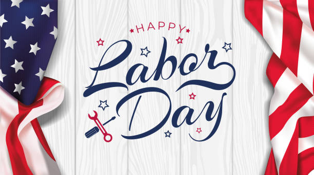 USA Labor Day greeting card with brush wood background in United States national flag colors and hand lettering text Happy Labor Day. Vector illustration. USA Labor Day greeting card with brush wood background in United States national flag colors and hand lettering text Happy Labor Day. Vector illustration. labor day stock illustrations