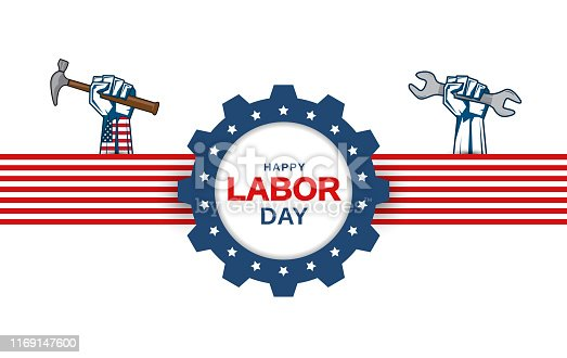 Labor Day greeting card with hand holding wrench and hammer. Vector illustration. EPS10