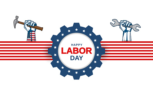 Labor Day greeting card with hand holding wrench and hammer. Vector