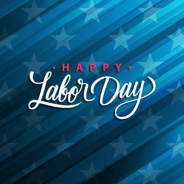 USA Labor Day greeting card with handwritten holiday greetings Happy Labor Day. United States national holiday. vector art illustration