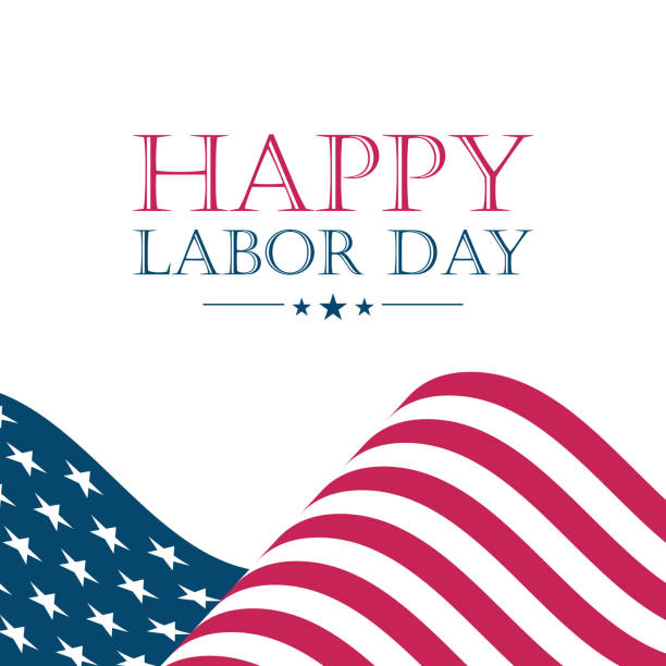USA Labor Day greeting card with waving United States national flag. USA Labor Day greeting card with waving United States national flag. Vector illustration. labor day stock illustrations