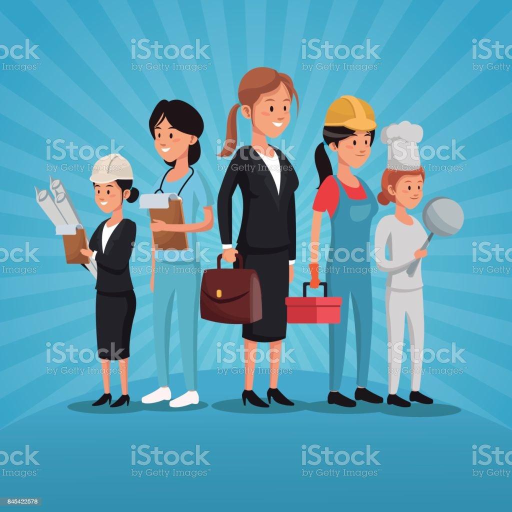 Dia Del Trabajador Mujeres ilustración de profesión de los trabajadores de día del
