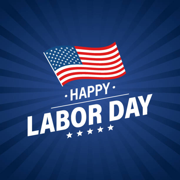 Labor day holiday banner. Happy labor day greeting card. USA flag. United States of America. Work, job. Vector illustration. Labor day holiday banner. Happy labor day greeting card. USA flag. United States of America. Work, job. Vector illustration labor day stock illustrations